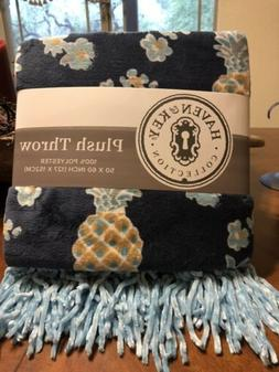 Blue Pineapple Plush Throw With Fringe By Haven & Key Pineap