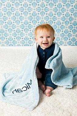 Blue Plush Personalized Baby Blanket
