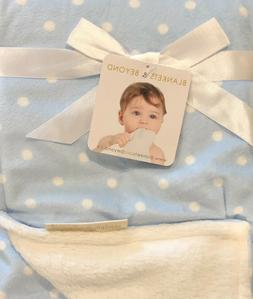 Blankets and Beyond Blue Polka Dot Baby Blanket