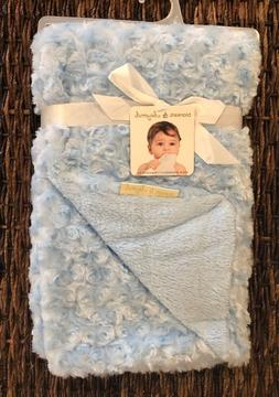 Blankets and Beyond Blue Rosette Baby Blanket New