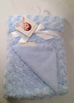 Blankets and Beyond Blue Rosette Baby Blanket