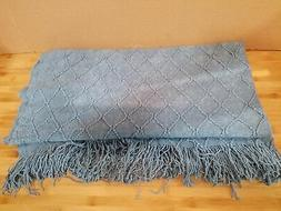 Bourina Blue Throw Blanket Textured Solid Soft Sofa Couch De