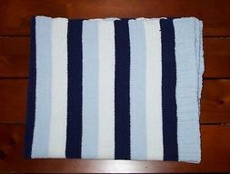 Lollypop Blue White Stripe Baby Blanket Chenille Security Lo