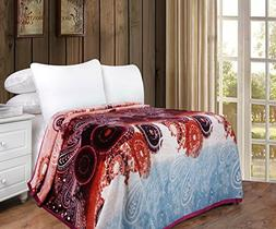 DaDa Bedding Flannel Throw Blanket - Bohemian Paisley Dreams