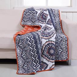 Boho Chic Moroccan Paisley Pattern Grey Orange Cotton Quilt