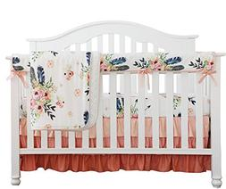 Boho Coral Feather Floral Ruffle Baby Minky Blanket Peach Fl