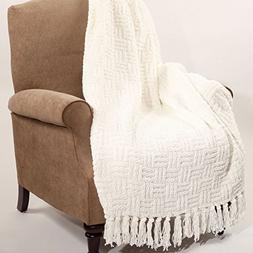 Home Soft Things Boon Cable Knitted Throw Couch Cover Blanke