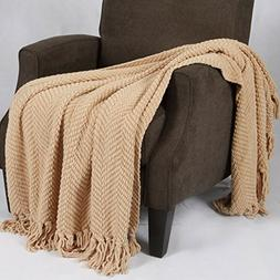 """Home Soft Things Knitted Tweed Throw Blanket 60"""" x 80"""" Light"""