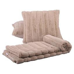 "BOON Rabbit Fur Throw with 2 Pillow Combo Set, 50"" x 60"", Oa"