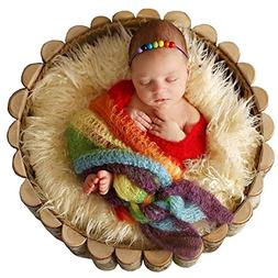 Newborn Baby Stretch Knit Wrap,Photography Photo Props Rainb