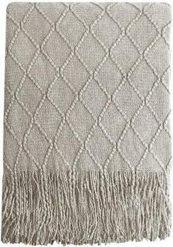Bourina Beige Throw Blanket Textured Solid Soft Sofa Couch C