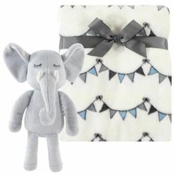 Hudson Baby Plush Blanket with Plush Toy Set, Modern Elephan