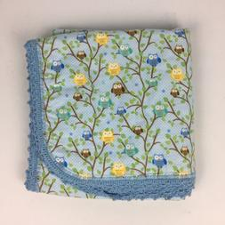 Boy Baby Blanket Recieving Blanket Blue Hand Made Owls 36""