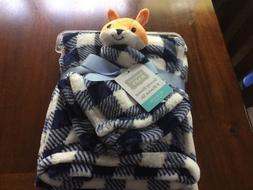 Hudson Baby Boy Fox Security Blanket Set Layette Plaid Navy