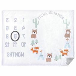 Hudson Baby Boy Monthly Milestone High Pile Blanket, Adventu