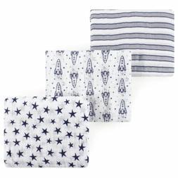 Hudson Baby Boy Muslin Swaddle Blankets, 3-Pack, Rocket Ship