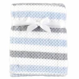 Hudson Baby Boy Plush Waffle Blanket, Blue and Gray Stripe