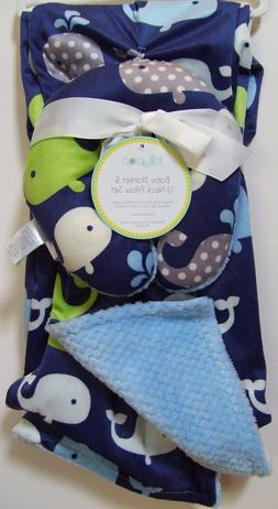 Boys Lollypop 2 pc Blue Whale Reversible Baby Blanket And Tr