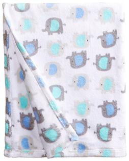 "Cutie Pie Boys' Blue Elephants Baby Blanket 30"" x 36"""