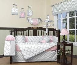 Boys Crib Bedding Blue Gray Chevron Zig 13 PC Set Baby Infan