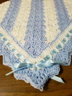 Boys NEW Baby Blanket Soft Blue  White Handmade Crochet  Str