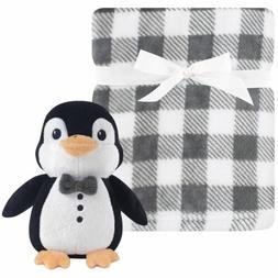 Boys Hudson Baby Plush Penguin Toy and Soft Gray White Plaid