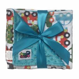 Boys Reversible Minky Dot Stroller Blanket Turquoise Cars &