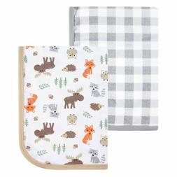 Hudson Baby Boys Swaddle Blankets Set/2 Forest Animals/Check