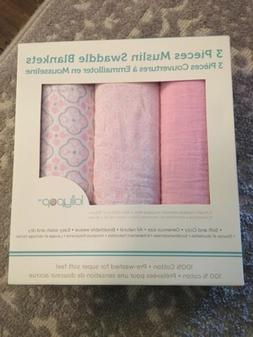 brand muslin swaddle blankets 3 package girl
