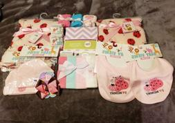 BRAND NEW BABY GIRL BLANKET AND ACCESSORY LOT *LADYBUGS *CRI