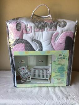 Brand New Little Bedding Nojo Elephant Time Pink 4-Piece Cri