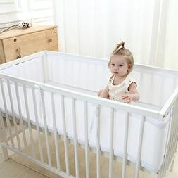 LEKEYE Breathable Mesh Crib Liner,Crib Bumper ,White