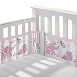 BreathableBaby Breathable Mesh Crib Liner- Safari Fun Girl,