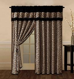 4 Piece Brown / Black Leopard Leopard Print Microfur Curtain