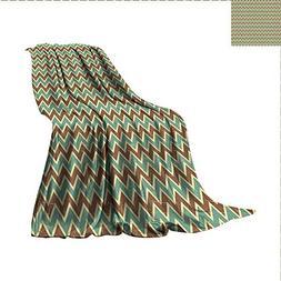 Brown and Blue Outdoor Blanket Chevron Zigzags Herringbone P