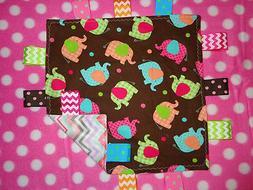 Brown Girl Pastel Elephant/Chevron Cotton/Minky Baby Tag Rib