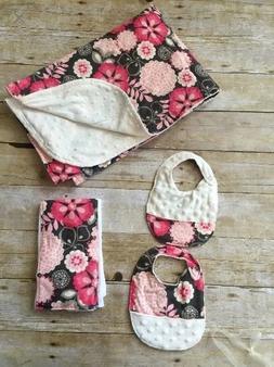 Brown pink cream baby gift set crib toddler bed blanket reve