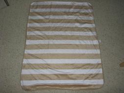 CIRCO BROWN TAN WHITE STRIPE BABY BLANKET PLUSH SHERPA SOFT