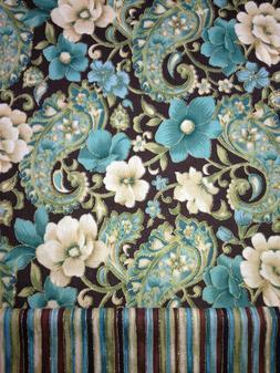 Brown Teal Cream Floral Stripe Paisley Metallic Trim Valance