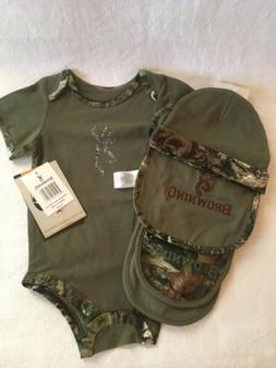 Browning Buckmark Baby Infant Camo Set 9 Months 4 Piece Set