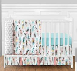 Bumperless Coral Aqua Grey White And Gold Feather Girl Baby