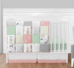 Sweet Jojo Bumperless Coral Mint Forest Animal Baby Girls 4p