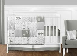 Bumperless Grey Forest Deer Arrow Gender Neutral Baby Nurser