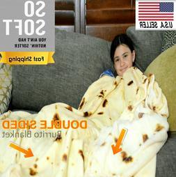 "Burrito Blanket 2.0 Throw 71"" Soft Flannel Round Corn and Fl"