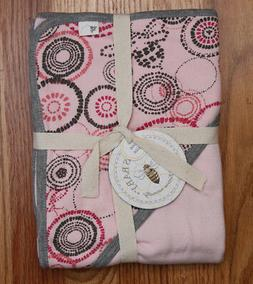 Burt's Bees Baby 2 Ply Organic Hooded Blanket ~ Pink & Gray