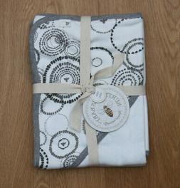 Burt's Bees Baby Hooded Blanket ~ White & Gray ~ Organic Cot