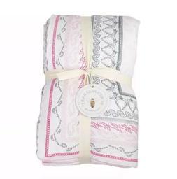 Burts Bees Baby Batik Bee Reversible Quilt Pink Blanket 100%