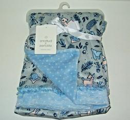 Buttons & Stitches Blue Baby Blanket Forest Deer, Bunny, Sna