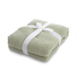 Cable knit green throw blanket 100% cotton soft for sofa cou