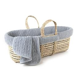 Tadpoles Cable Knit Moses Basket and Bedding Set, Grey